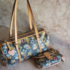 Dooney and Bourke bee print bag and wristlet match